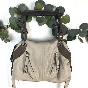 B Makowsky Leather Cream Crossbody Bag Purse